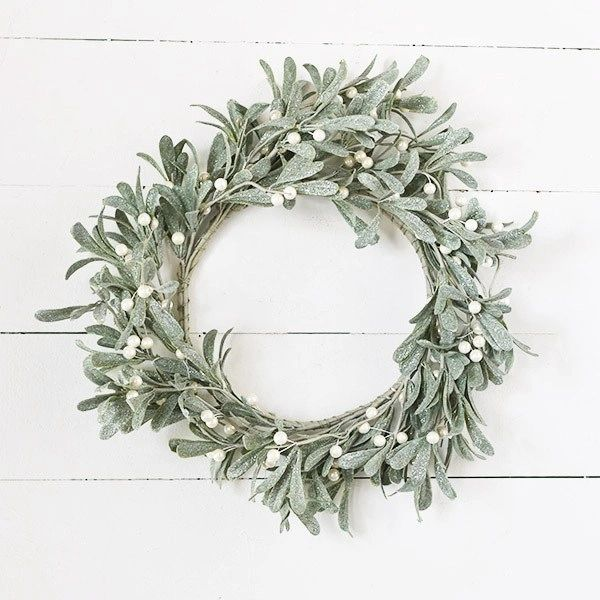 White Mistletoe Wreath - Vintage Crossroads