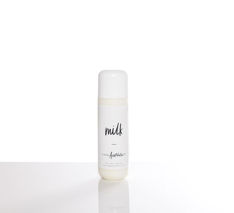 copeAesthetic Milk is a cream cleanser that removes makeup, product residue, as well as dirt.
