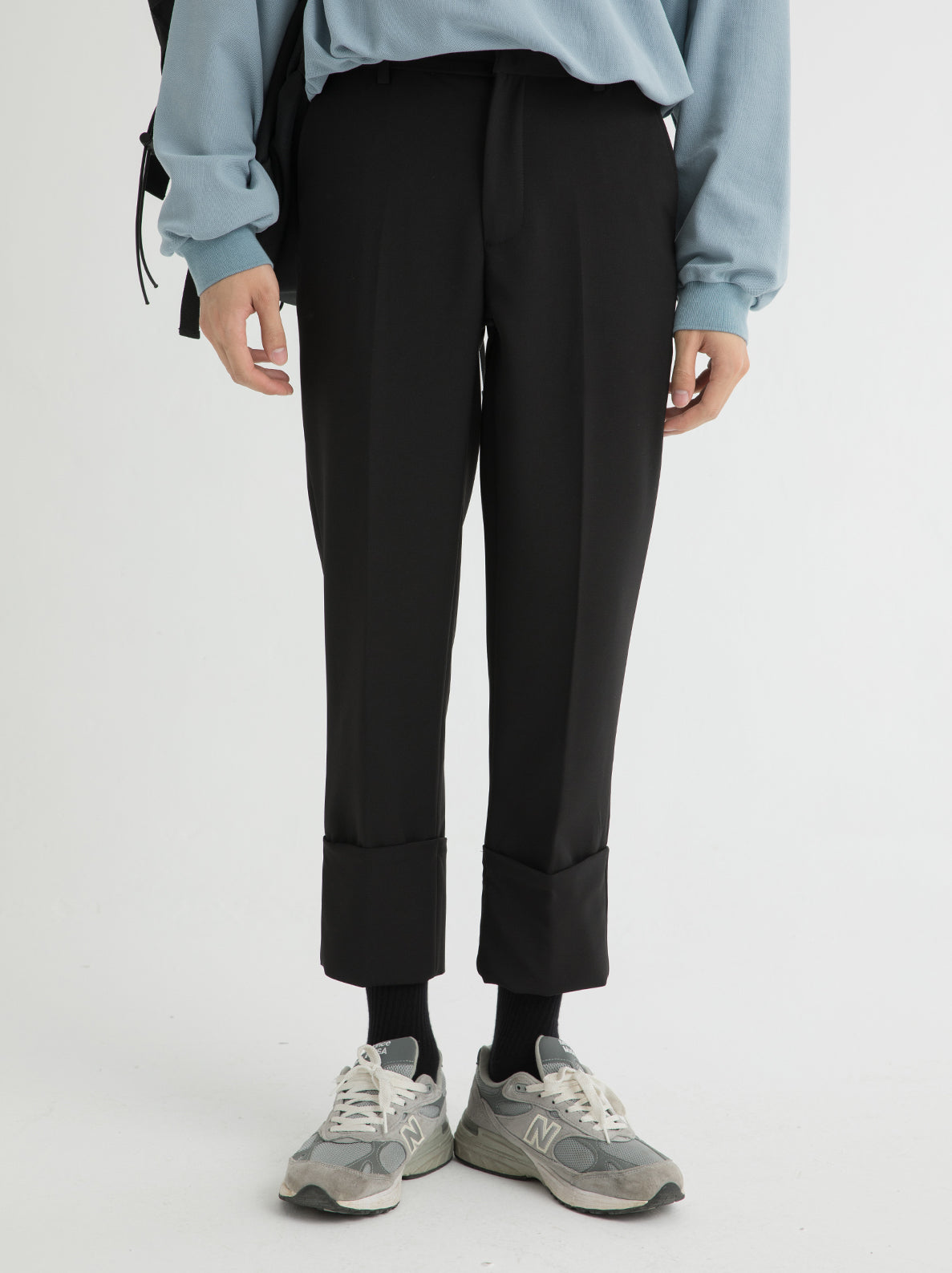 Solid Color Cuff Trouser Pants