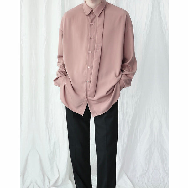 Solid Color String Button Up Blouse