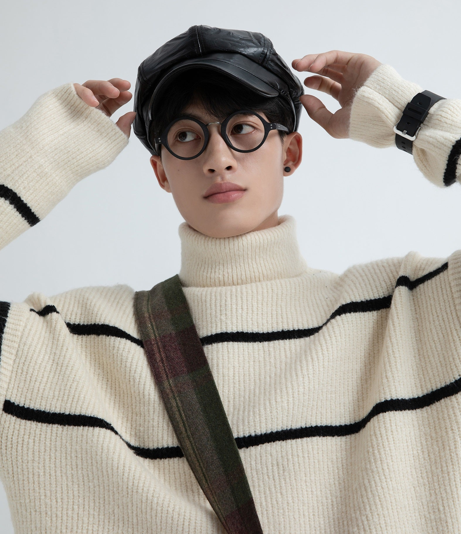 Turtle Neck Long Sleeve Striped Sweater