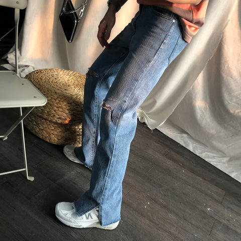 Split Cut Denim Pants