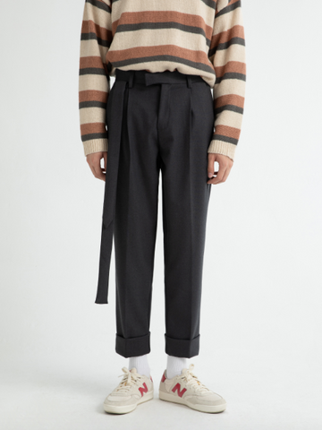 Long Belt Accent Trouser Pants