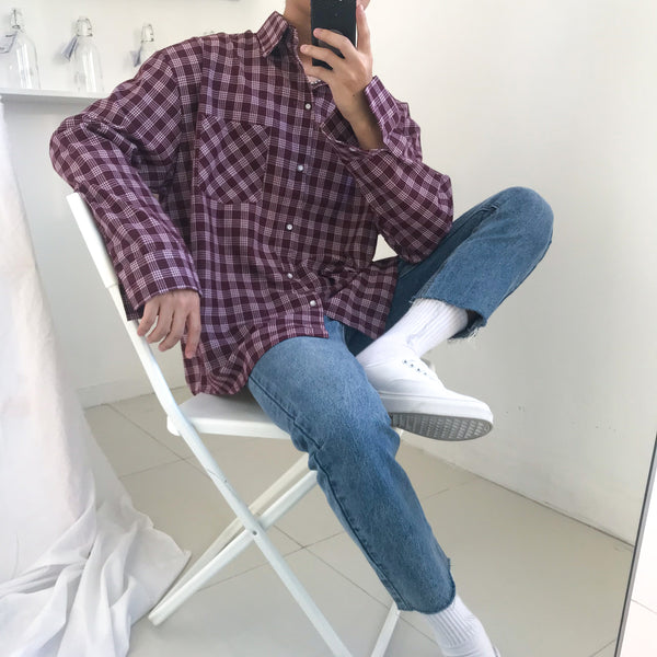 Loose Plaid Flannel Top