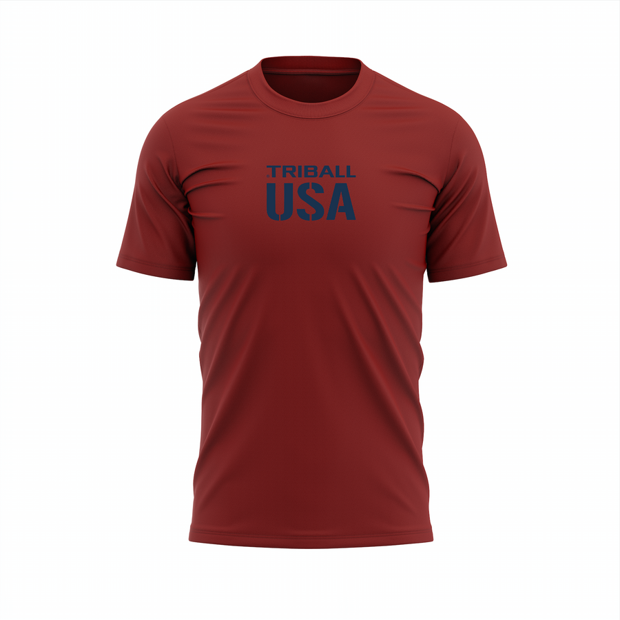 NATIONAL TRIBALL® - MEN'S T-SHIRT - USA - GARNET