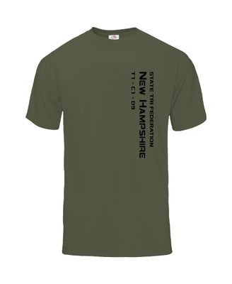 VERTICAL STATE T-SHIRT - NEW HAMPSHIRE - MILITARY GREEN