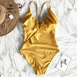 387a90e2f47 Quick View · CUPSHE Happy Ending Yellow Solid One-piece Swimsuit Falbala V  neck Ruffle Sexy Bikini 2018 ...