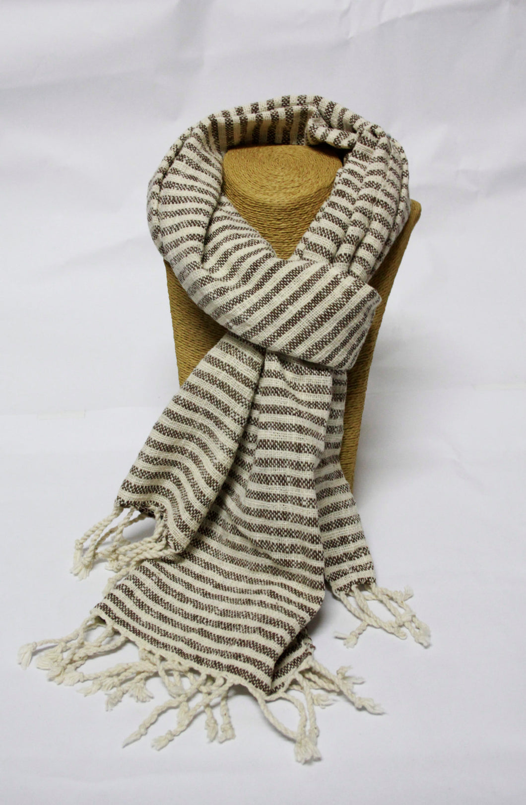 Hand Woven Handspun Cotton Scarf - Fair Trade from Laos - Smoky Mountain Fresh Roast Coffee