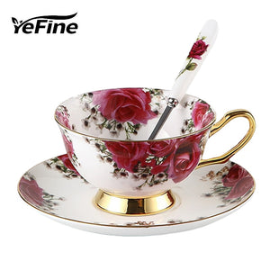 YeFine Flowers Bone China Coffee or Tea Cup With Saucer and Spoon - Smoky Mountain Fresh Roast Coffee