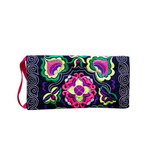 Women's Ethnic Handmade Embroidered Wristlet Clutch Bag Vintage Purse Wallet - Smoky Mountain Fresh Roast Coffee