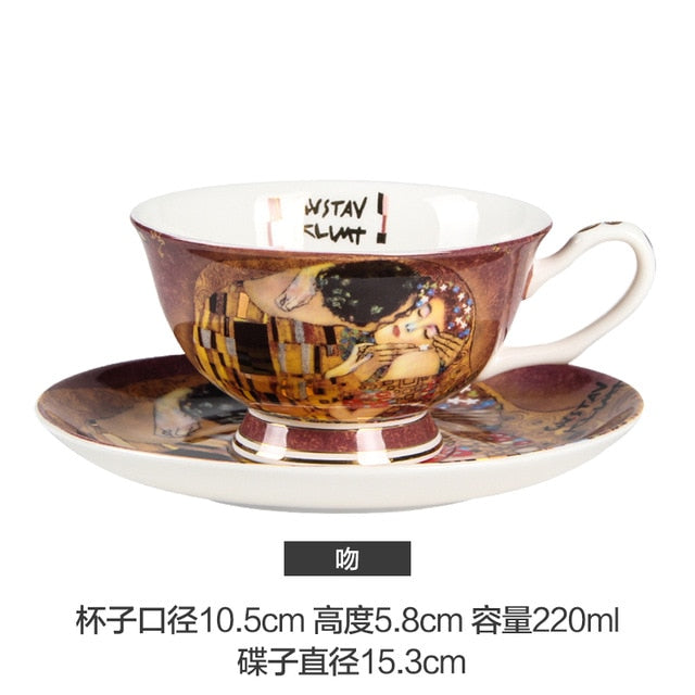 Gustav Klimt Art European Bone China Coffee or Tea Cup with Saucer and Spoon - Smoky Mountain Fresh Roast Coffee