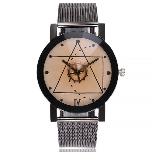Casual Quartz Stainless Steel Band Marble Strap Analog Wrist Watch - Smoky Mountain Fresh Roast Coffee