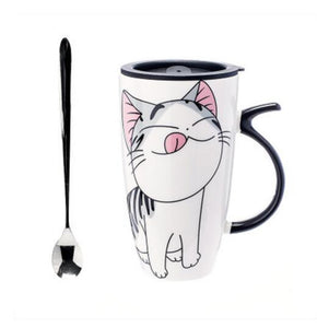 Ali-Cute Fashion Cat Coffee or Tea Mug with Japanese Silicone Lid and Spoon - Smoky Mountain Fresh Roast Coffee