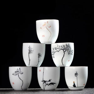 YeFine Traditional Porcelain Hand Painted Chinese Tea Cup Set - Six Cups - Smoky Mountain Fresh Roast Coffee