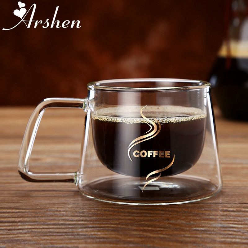 Arshen Double Wall Glass Coffee or Tea Mug - Smoky Mountain Fresh Roast Coffee