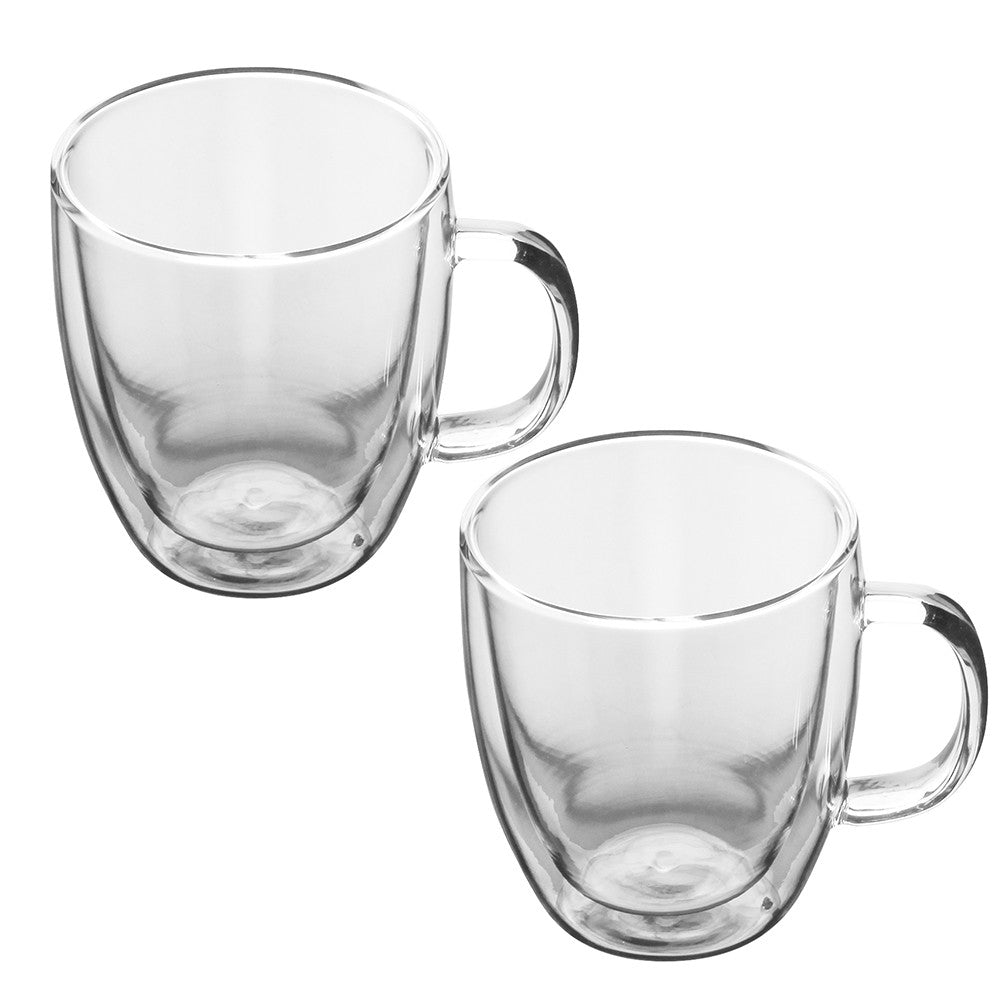 Double Wall Glass Coffee Mug - 2 piece set 350ml - Smoky Mountain Fresh Roast Coffee