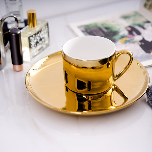 Mirror Effects Gold or Silver Plated over Bone China Coffee or Tea Cup with Saucer - Smoky Mountain Fresh Roast Coffee