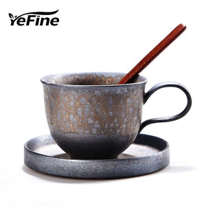 YeFine Creative FLAMBE-GLAZED Ceramic Tea Cup Set Vintage Coffee Cups Porcelain Tea Cups And Saucers - Smoky Mountain Fresh Roast Coffee