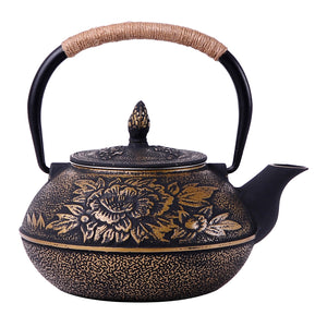 Extra Large 900ml IALJ Peony Uncoated Iron Teapot iron - Smoky Mountain Fresh Roast Coffee