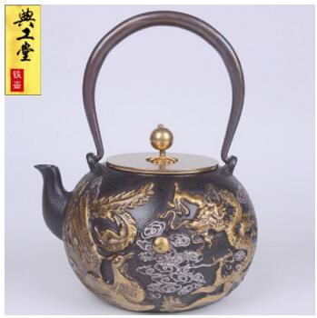 New Design 1.4L Dragon and Phoenix Iron Kettle Japanese Iron Teapot - Uncoated - Smoky Mountain Fresh Roast Coffee