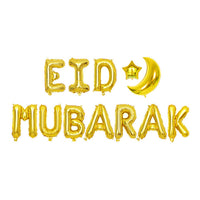 1set 16inch Eid Mubarak Gold Balloon Banner