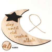 Wooden Crescent Moon Eid Countdown