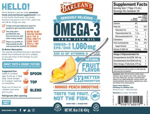 Barleans Seriously Delicious Omega-3 Fish Oil Mango Peach Smoothie