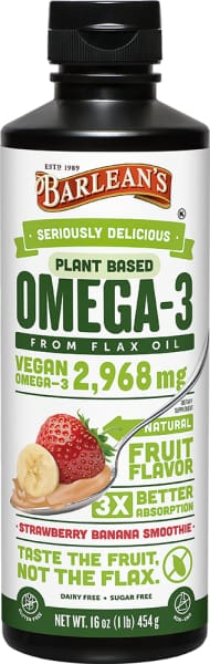Barleans Seriously Delicious Omega-3 Flax Strawberry Banana Smoothie