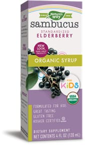Natures Way Organic Sambucus For Kids Original Syrup - 4 Oz. (120Ml)