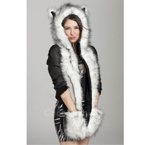 Winter Faux Fur Animal Hoodie, Ear Flaps & Hand Pockets 3 in 1