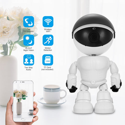 HD 1080P WiFi Robot with Two way audio, Pan tilt rotation, Phone app control