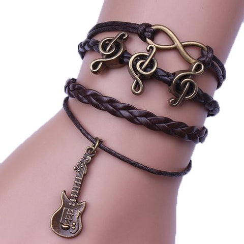 Music And Guitar Leather Bracelet