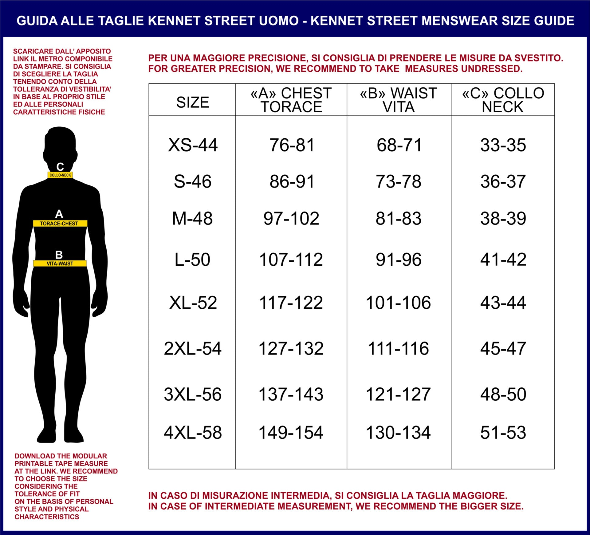 Kennet Street Men Size Guide