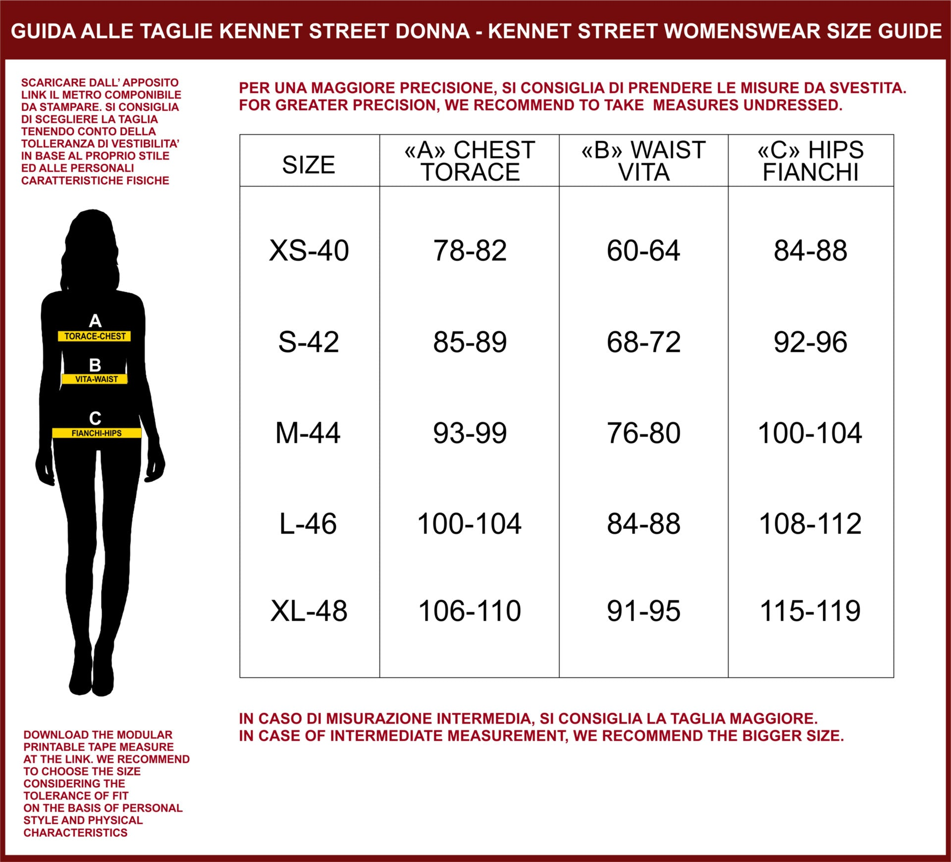 Kennet Street Women Size Guide