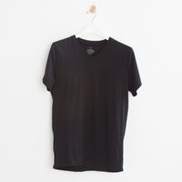 Supima V-Neck Tee in Black