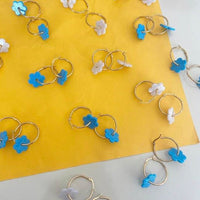 Acetate and Gold Plated Daisy Hoop Earrings in Blue