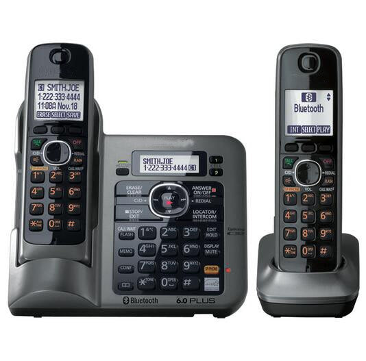 2 Handsets Digital Wireless Cordless Phone DECT 6.0 link-to-cell Bluetooth Cordless Telephone With Call ID Answering system
