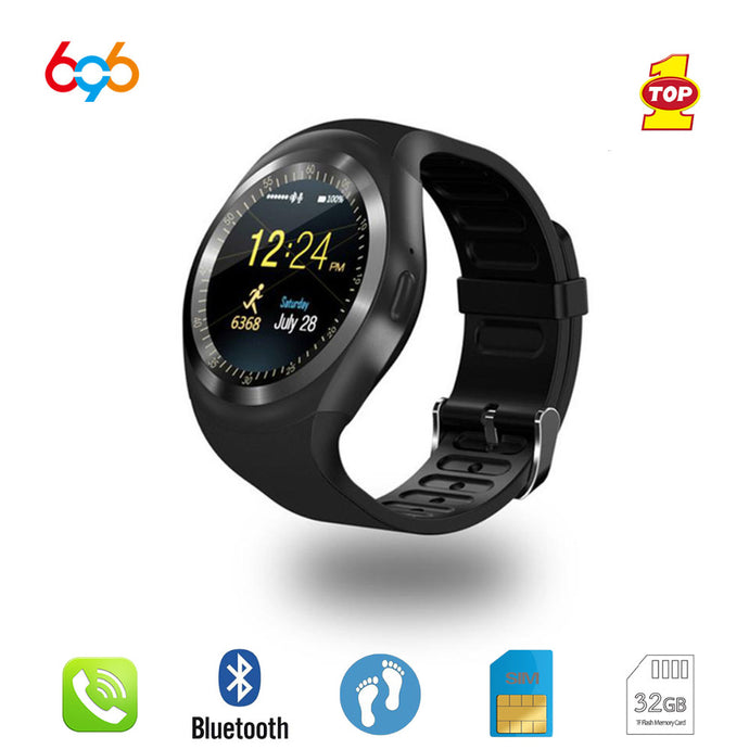 Bluetooth Y1 Smart Watch Relogio Android SmartWatch Phone Call GSM Sim Remote Camera Information Display Sports Pedometer