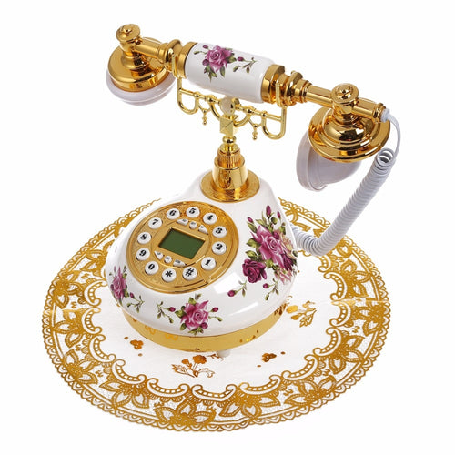 Antique Landline Telephone With Call ID Date Clock Adjust Ring Without Battery Classical Phone For Home Office