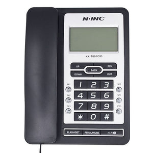 DTMF/FSK Green Screen Landline Telephone Without Battery Dual Interface Fixed Phone Call ID Handsfree For Home Office Hotel