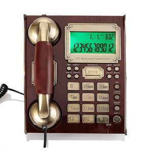European Antique Vintage Call ID Handfree Fixed Telephone Landline High-end With Leather Handset For Business Office Home Brown