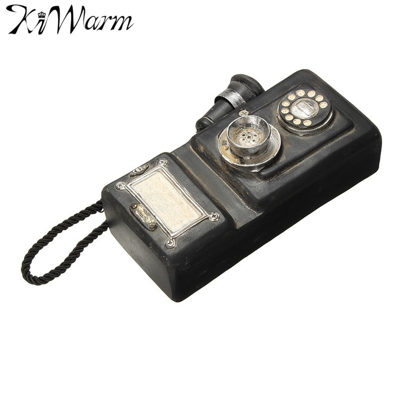 KiWarm Cute Vintage Retro Rotary Telephone Statue Chic Old Wall Corded Phone Figurines Ornaments for Home Decor Crafts Gift
