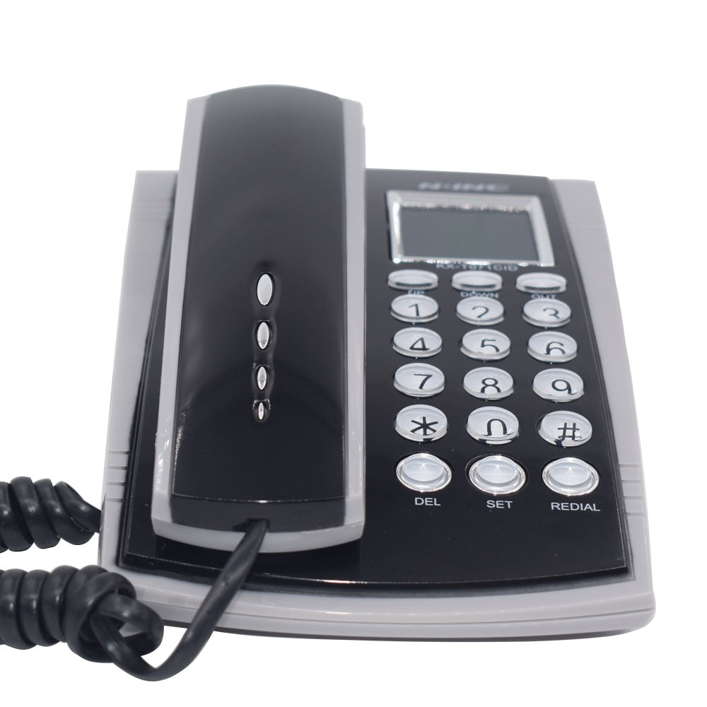 Portable Corded Telephone Phone Redial Call ID Plusle Tone Model Wall Mountable Base Handset for House Home Call Center Black