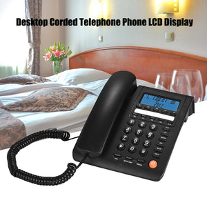 Desktop Corded Telephone Fixed Phone LCD Display for House Home Call Center Office Company Hotel