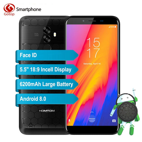 Homtom S99 Android 8.0 MT6750 Octa Core 5.5 Inch 18:9 Screen Smartphone 4GB RAM 64GB ROM 6200mAh Battery Face ID Mobile Phone