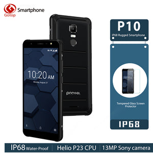 "POPTEL P10 4GB 64GB IP68 Waterproof Mobile Phone 5.5"" Inch MT6763 Octa Core 13MP Fingerprint Touch ID OTG NFC 4G LTE Global"