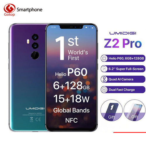 Umidigi Z2 Pro FHD+Full Screen 6GB RAM 128 ROM Mobile phone Helio P60 Octa Core 6.2