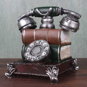 Vintage Telephone Model Statue Antique Phone Figurine Money Saving Piggy Bank Money Boxes Red/Green Home Decorations Gifts