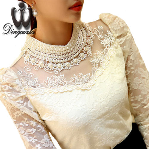 Dingaozlz elegant long sleeve bodysuit beaded Women lace blouse shirts crochet tops blusas Mesh Chiffon blouse female clothing