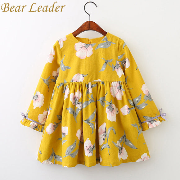 Bear Leader Girls Dress 2017 Brand Printing Princess Dress Autumn Style Long Sleeve Flowers Printing Design for Children Clothes